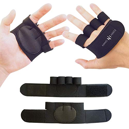 NH Weight-Lifting Crossfit Workout Fitness Gloves | Callus-Guard Gym Barehand Grips | Support Cross-Training, Rowing, Power-Lifting, Pull Up for Men & Women (Black, Medium)