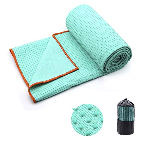 Eunzel Yoga Towel,Hot Yoga Mat Towel - Sweat Absorbent Non-Slip for Hot Yoga, Pilates and Workout 24' x72(Grip Dots,Green)