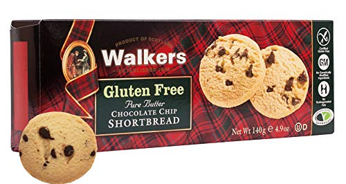 Walkers Shortbread Gluten-Free Chocolate Chip Shortbread Cookies, 4.9 Ounce Box (Pack of 6)