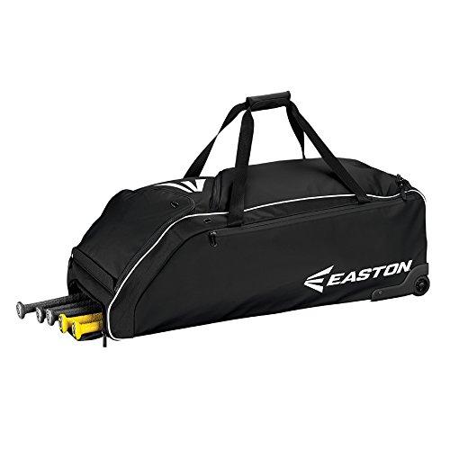 EASTON E610W Bat & Equipment Wheeled Bag | Baseball Softball | 2020 | Black | 4 Bat Compartment | Vented Pockets - Minimize Odor & Quick Dry | Removable Shoe Pocket | Lockable Pockets | Fence Hook