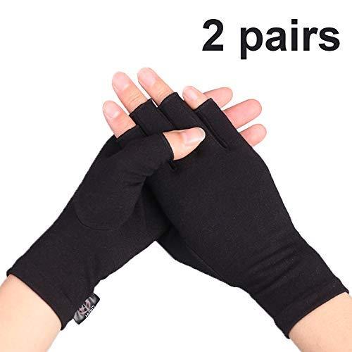 Compression Arthritis Gloves, 2 Pairs Open Finger Hand Gloves for Women Men, Fingerless Design to Relieve Pain from Rheumatoid and Osteoarthritis(Pure Black, Medium)