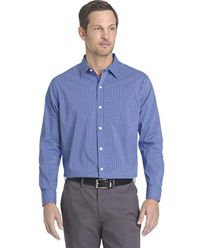 Van Heusen mens Traveler Stretch Long Sleeve Non Iron button down shirts, Blue Mazarine Legacy 2, X-Large US