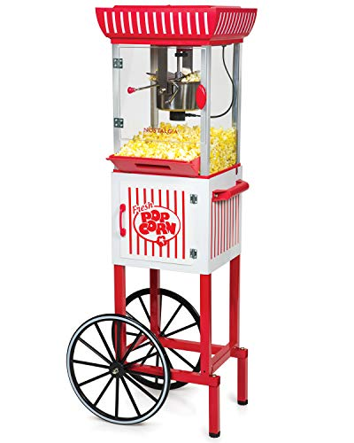 Nostalgia PC25RW 2.5 oz Popcorn & Concession Cart, 48' Tall, Makes 10 Cups, with Kernel & Oil Measuring Spoons & Scoop, 13' Wheels for Easy Mobility, Red/White