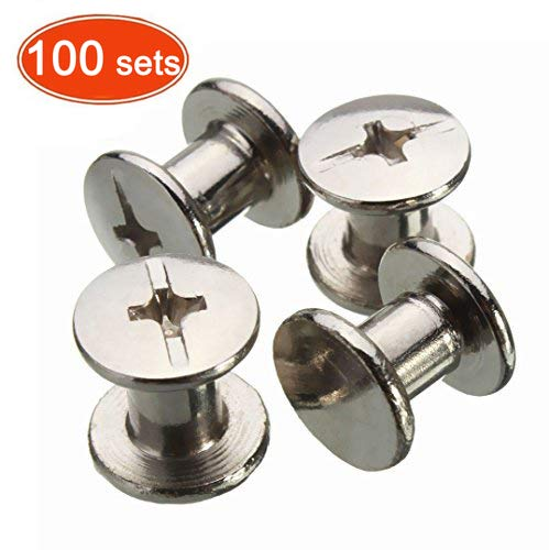 Chicago Binding Screws Sex Bolt Barrel nut Barrel Bolt Post Screw Phillips/Cross Head, Suitable for All Kind of Art and Leather, Made of Stainless Steel Never Rust, Length 1/4' 100sets