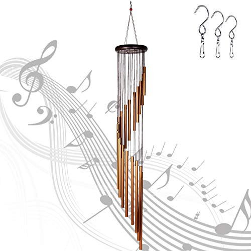 Epartswide Wind Chimes Outdoor,Large Wind Chimes,36' Garden Chimes with 18 Aluminum Alloy Tubes and 3 S Hooks for Garden Patio Decor(Golden)