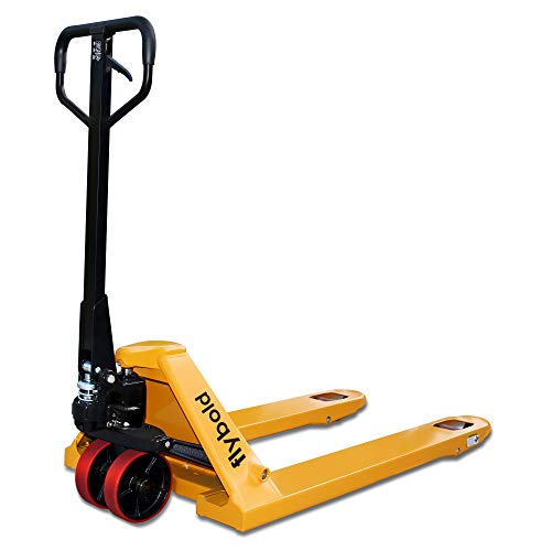 Pallet Jack Hand Pallet Truck Heavy Duty 27 x 48 5500 lbs Cushioned Grip Rust and Scratch Free Non Marking Polyurethane Wheels No Oil Leakage CE TUV IAF 1 Year Warranty Yellow Color