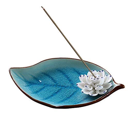 Corciosy Incense Stick Burner Holder-Ceramic Decorative Lotus Incense Burner Leaf-Incense Ash Catcher Tray Sky Blue