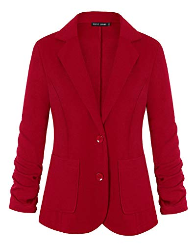 Casual Cardigan for Women Button 3/4 Sleeve Office Work Jacket Blazers (Red,L)