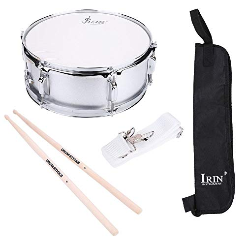 Snare Drum Kit, 15.7 x 6.1inch Stainless Steel Marching Snare Drum Kit Concert Percussion Musical Instrument with Carrying Bag Drumstick Adjustable Strap Silencer Mute for Beginner Students