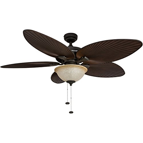 Honeywell Palm Island 52-Inch Tropical Ceiling Fan with Sunset Glass Bowl Light, Five Palm Leaf Blades, Indoor/Outdoor, Bronze