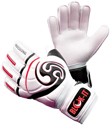 Blok-IT Goalkeeper Gloves Goalie Gloves-Make The Toughest Saves-Secure and Comfortable Fit-Extra Padding,ReducedChance of Injury (Red, Size 6=Youth-M)