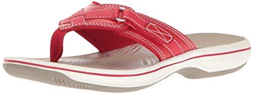 Clarks Women's Breeze Sea Flip Flop, New Red Synthetic, 8 B(M) US