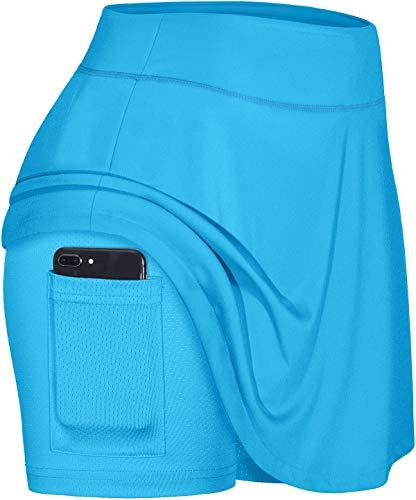 Blevonh Casual Skirts for Women,Active Skort Girl Elastic Waistband Moisture-Sicking Modest Mini Skater Skirt Drape Flared Hem Adorable Gym Loungewear Great for Movement Blue L