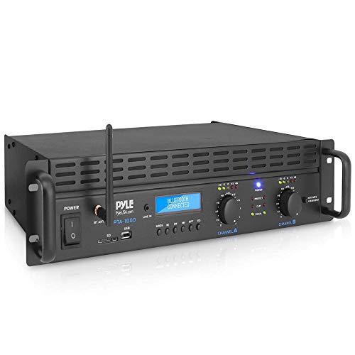 Professional Audio Bluetooth Power Amplifier - 2-Channel Rack Mount Bridgeable, LED Indicators, Shockproof Binding Posts, Cooling Fans 1000 Watt - Pyle PTA1000