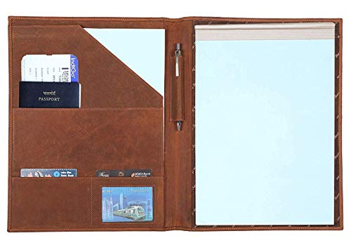 Leather Padfolio Resume Portfolio Folder – Interview/Legal Document Organizer for Letter Size Writing Pad with Business Card Holder, Ideal Gift Portfolios for Men and Women (Brown)