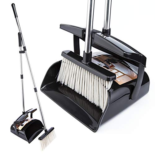 Broom and Dustpan Set with Lid Outdoor Or Indoor Dust Pan 3 Foot Long Stainless Cleans Broom Combo Upright Steel Handle Kids Lobby Pet Dog Hair Wood Floor Room Office Sweeping Kitchen House