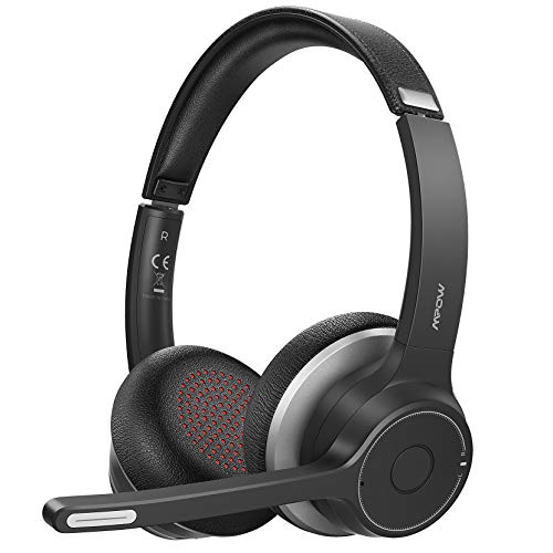 Mpow Bluetooth Headset V5.0 with Dual Microphone, Wireless PC Headphones,CVC8.0 Noise Canceling, On Ear for Computer,Cell Phone, Call Center, Office, Skype, 22 H Talk Time,Soft Earpad (Wired Optional)