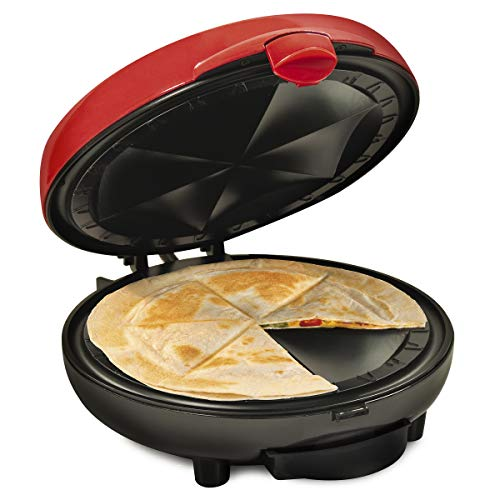 Nostalgia Taco Tuesday Deluxe 8-Inch 6-Wedge Electric Quesadilla Maker with Extra Stuffing Latch, Red