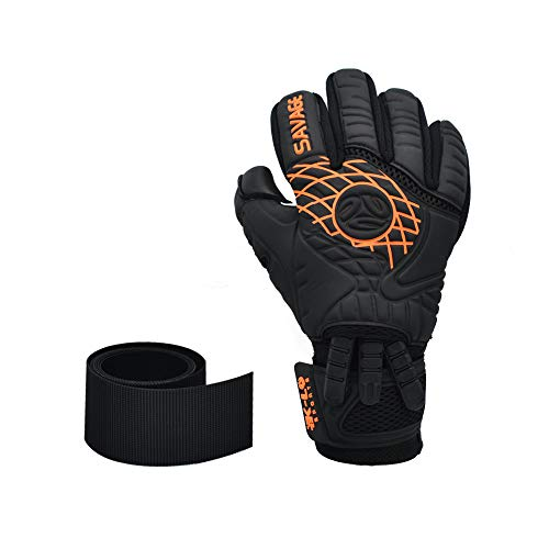 K-LO Fingersave Goalkeeper-Soccer Goalie Gloves- Savage Blackout-Professional Extra Precision Grip, German Latex Build-Negative Cut, Inside Silicone Gel, Non-Slip-Youth-Kids + Adult Sizes-Black