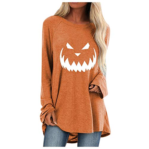 FRROY Women Christmas Halloween Cute Printed Tunic Tops Long Sleeve T-Shirts Dress Oversized Sweatshirt Pullover Jumper with Pockets