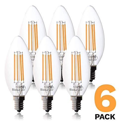 6-Pack Bioluz LED Filament Candelabra Clear LED Bulbs, E12 Base, C37 High Efficiency, 360 LED Candle Bulbs, Pack of 6