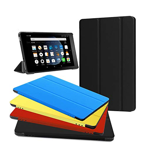 Fire HD 8 Case - Zerhunt Ultra Light Slim Fit Protective Cover with Auto Wake/Sleep for Fire HD 8 Tablet (7th and 8th Generation, 2017 and 2018 Release) Black, Not Suit for 10th 2020 Release