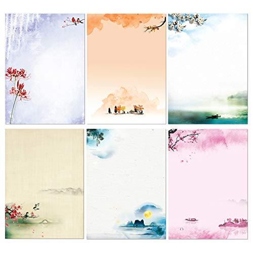 Stationary Set Japanese Stationery Letter Writing Paper, 48 Pack Stationary paper and envelopes set Ink Painting Design - 48 Stationary papers + 24 Envelopes