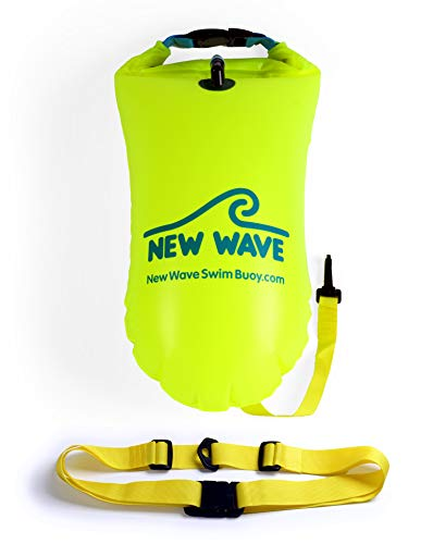 New Wave Swim Buoy for Open Water Swimmers and Triathletes - Light and Visible Float for Safe Training and Racing (PVC 15 Liter Fluo Green)