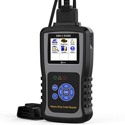 KZYEE KC601 Heavy Duty Scan Tool, HD Truck Diagnostic Scanner Transmission DPF Code Reader/Eraser with Live Data/ECU Info for J1587/J1708 J1939 Class 8 Diesel Trucks