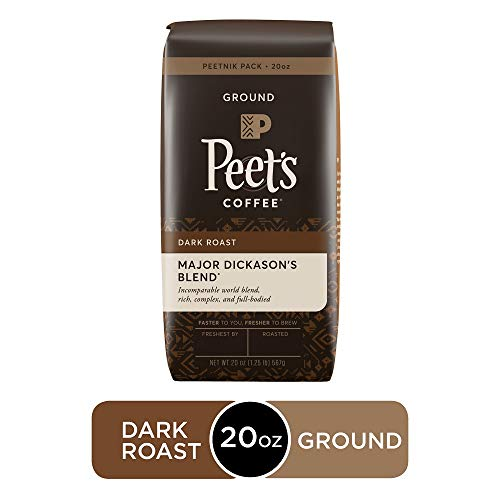 Peet's Coffee Major Dickason's Blend, Dark Roast Ground Coffee, 20 Ounce Peetnik Pack