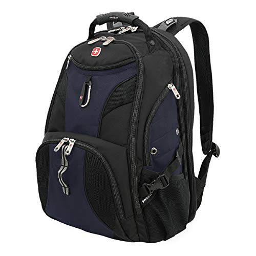 SWISSGEAR 1900 ScanSmart Laptop Backpack | Fits Most 17 Inch Laptops and Tablets | TSA Friendly Backpack | Ideal for Work, Travel, School, College, and Commuting- Blue/Black