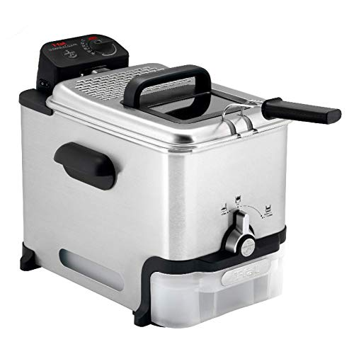 T-fal Deep Fryer with Basket, Stainless Steel, Easy to Clean Deep Fryer, Oil Filtration, 2.6-Pound, Silver, Model FR8000, Single