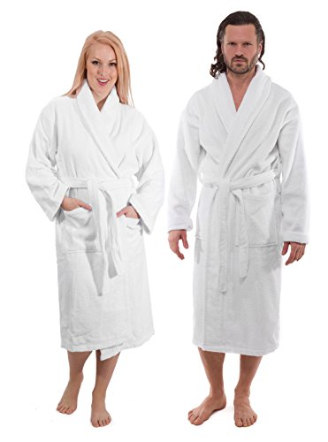 Classic Turkish Towels Luxury Shawl Terry Bathrobe - Hotel and Spa Robe Made with 100% Turkish Cotton (Unisex, Large)