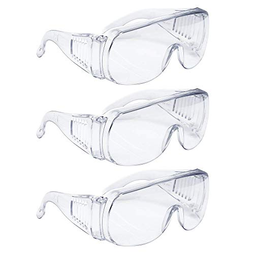 AMSTON Safety Glasses Personal Protective Equipment, PPE, Eyewear Protection, Clear, ANSI Z87+ Standards, High Impact, Vented Sides, For Construction, Laboratory, Chemistry Class (1 pack)
