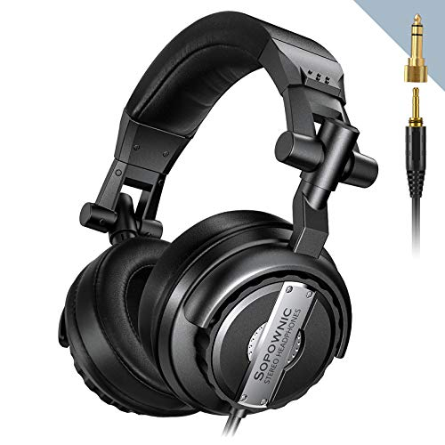 Over Ear Headphones, Sopownic DJ Headphone with 50mm Driver, Professional Monitor Recording, Mixing Foldable Studio Headsets with Stereo Sound for Electric Drum Keyboard Guitar Amp PC