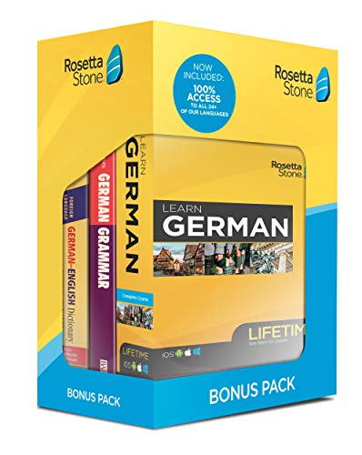 Rosetta Stone Learn German Bonus Pack Bundle| Lifetime Online Access + Grammar Guide + Dictionary Book Set| PC/Mac Keycard