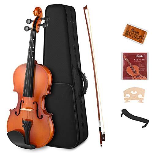 Eastar EVA-2 1/4 Violin Set Fiddle for Kids Beginners Students with Hard Case, Rosin, Shoulder Rest, Bow, and Extra Strings (Imprinted Finger Guide on Fingerboard)