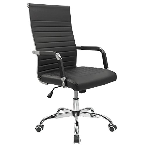 Furmax Ribbed Office Desk Chair Mid-Back PU Leather Executive Conference Task Chair Adjustable Swivel Chair with Arms (Black)
