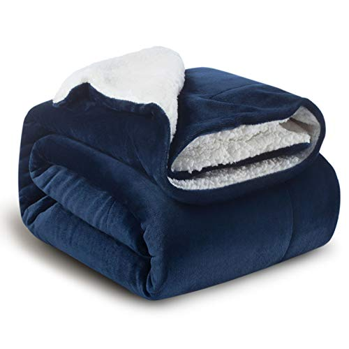 Bedsure Sherpa Fleece Blanket Throw Size Navy Lightweight Super Soft Cozy Luxury Bed Blanket Microfiber