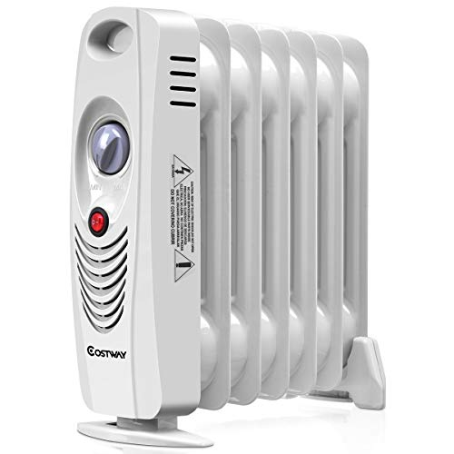 COSTWAY Oil Filled Radiator Heater, 700W Portable Space Heater with Adjustable Thermostat, Overheat Protection, Electric Heater for Bedroom, Indoor use
