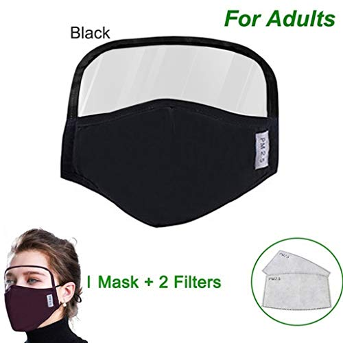 Zackate 1PC Cotton Dustproof Outdoor Face Protective Face Guard with Eyes Shield + 2 Filters, Anti Pollution Dust Free Mouth Protectives (1PC Black + 2 Filters)