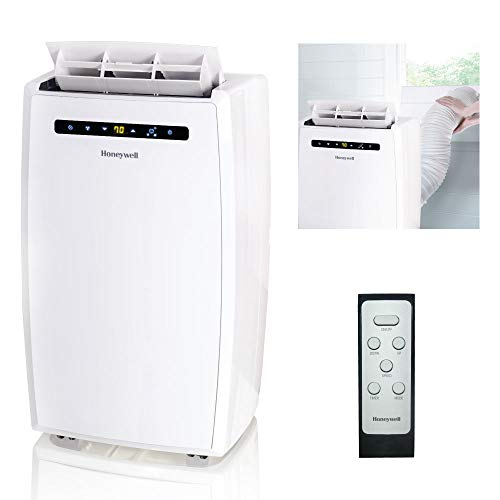 Honeywell MN12CESWW 12000 BTU Portable AC, Dehumidifier, Fan for Rooms Up To 400-550 Sq. Ft. with Thermal Overload Protection, Washable Air Filter & Remote Control