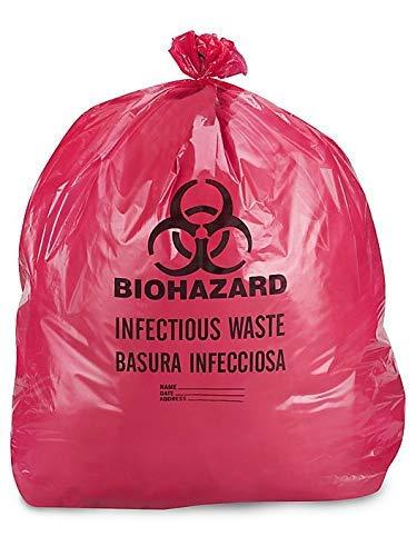 DDI IW2424 Biohazard Waste Disposable Bag, 7-10 gallon Capacity, 24 L x 24 W, 1.3 mil, Medium, Red, Pack of 100