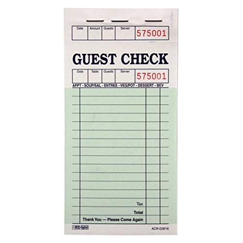 DayMark ACR-G3616 Guest Check Board, 1 Part, Green (50 Books, 100 Checks per Book)