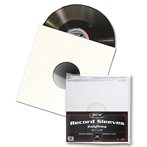 50 BCW 12' Paper & Plastic Polylined Record Inner Sleeves for LP Vinyl Record Albums