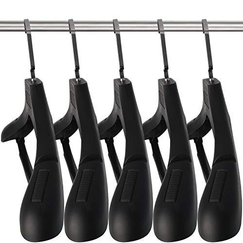 DEDU Plastic Extra Wide Suit Hangers, Pack of 15, Width: 17.7',Notched Shoulders & Swivel Hooks, Black