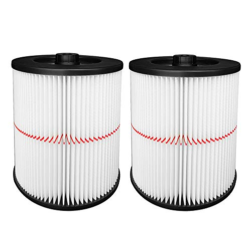 Reinlichkeit 2 Pack Cartridge Filter for Shop Vac Craftsman 17816 9-17816 Wet/Dry Air Filter Replacement Part fit 5 Gallon & Larger Vacuum Cleaner