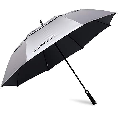 G4Free 62inch UV Protection Golf Umbrella Auto Open Vented Double Canopy Oversize Extra Large Windproof Sun Rain Umbrellas