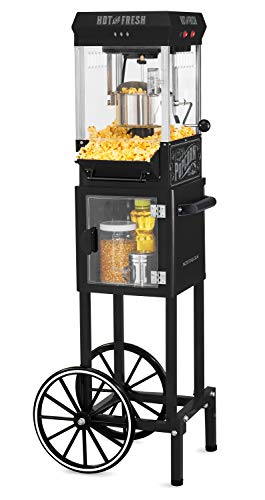 Nostalgia KPM220CTBK 2.5 oz Professional Popcorn & Concession Cart with 5 quart Bowl, 45' Tall, Makes 10 Cups, with Kernel & Oil Measuring Spoons & Scoop, 11' Wheels for Easy Mobility, Black