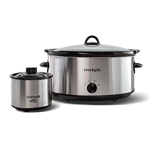 Crock-Pot 8 quart Manual Slow Cooker with 16 oz Little Dipper Food Warmer, Stainless